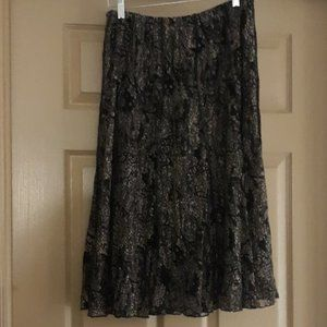 Midi Skirt Patterned Lace Overlay